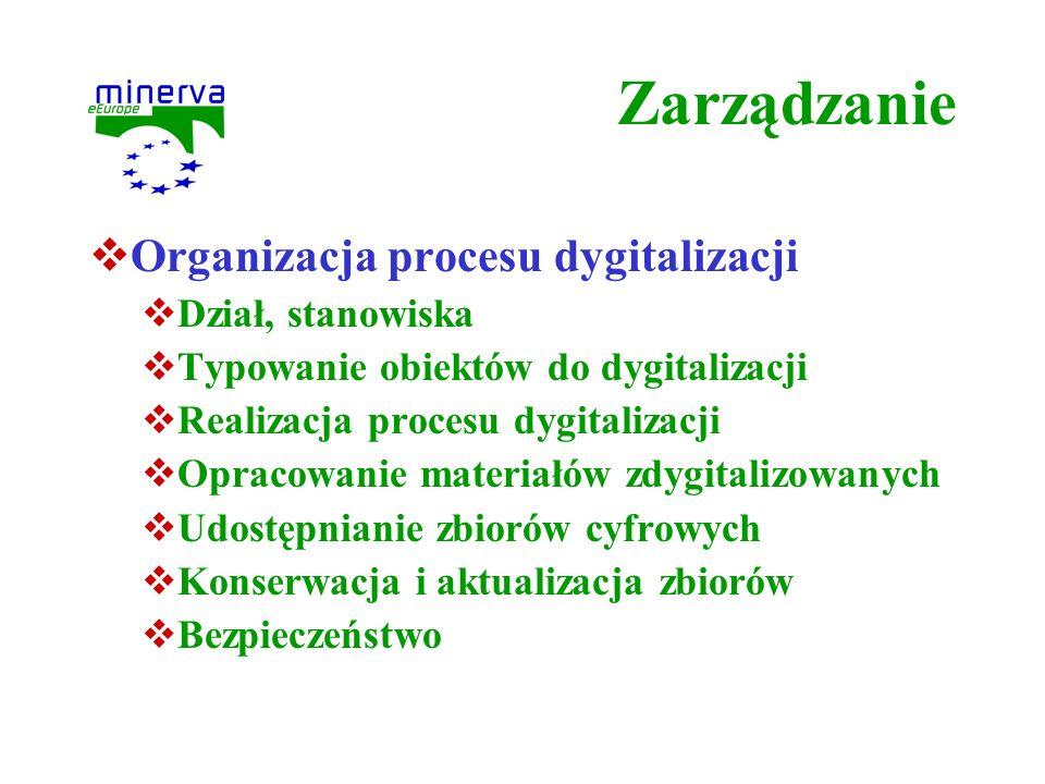 Zarządzanie Organizacja procesu dygitalizacji Dział, stanowiska Typowanie obiektów do dygitalizacji Realizacja procesu dygitalizacji Opracowanie mater