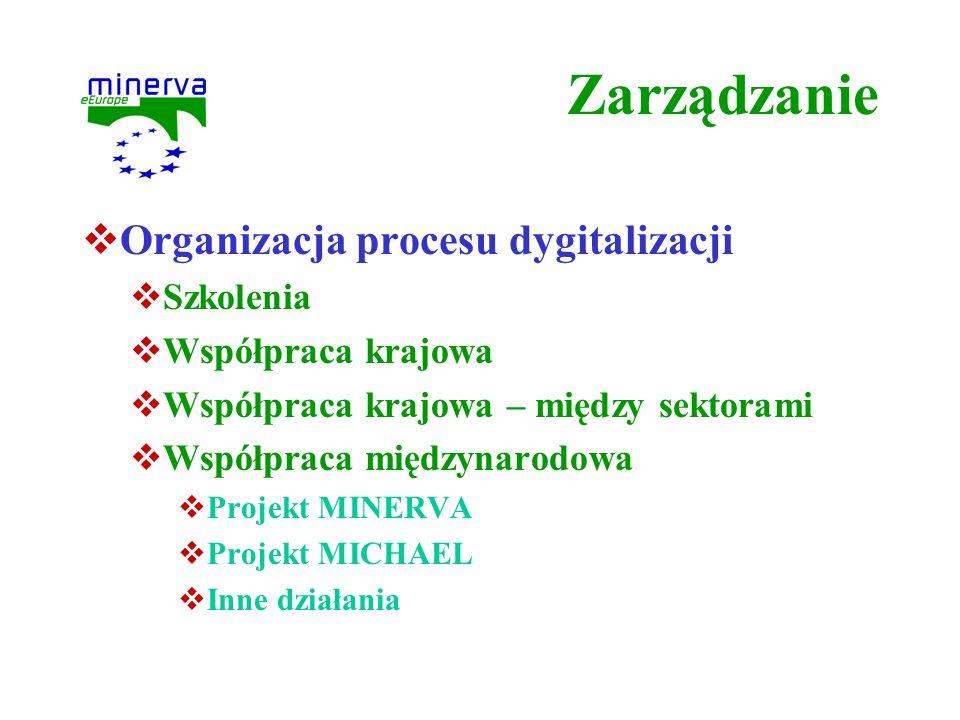 Zarządzanie Organizacja procesu dygitalizacji Szkolenia Współpraca krajowa Współpraca krajowa – między sektorami Współpraca międzynarodowa Projekt MIN