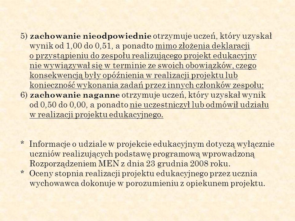 5) zachowanie nieodpowiednie otrzymuje uczeń, który uzyskał wynik od 1,00 do 0,51, a ponadto mimo złożenia deklaracji o przystąpieniu do zespołu reali