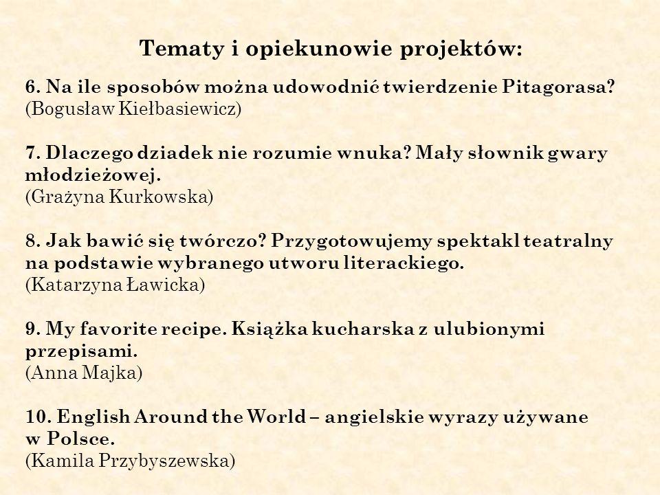 Tematy i opiekunowie projektów: 6. Na ile sposobów można udowodnić twierdzenie Pitagorasa? (Bogusław Kiełbasiewicz) 7. Dlaczego dziadek nie rozumie wn