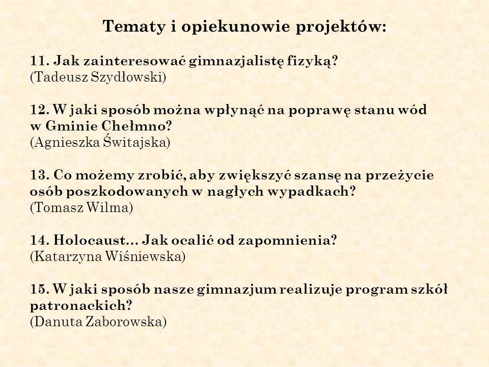 Tematy i opiekunowie projektów: 11. Jak zainteresować gimnazjalistę fizyką? (Tadeusz Szydłowski) 12. W jaki sposób można wpłynąć na poprawę stanu wód