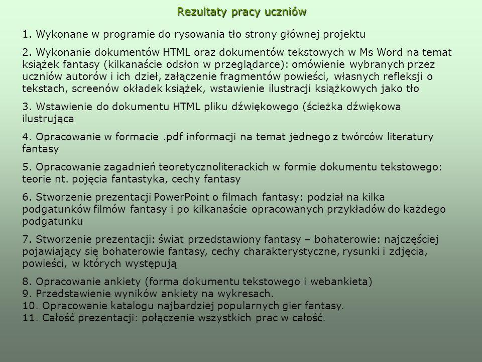 Rezultaty pracy uczniów 1. Wykonane w programie do rysowania tło strony głównej projektu 2. Wykonanie dokumentów HTML oraz dokumentów tekstowych w Ms