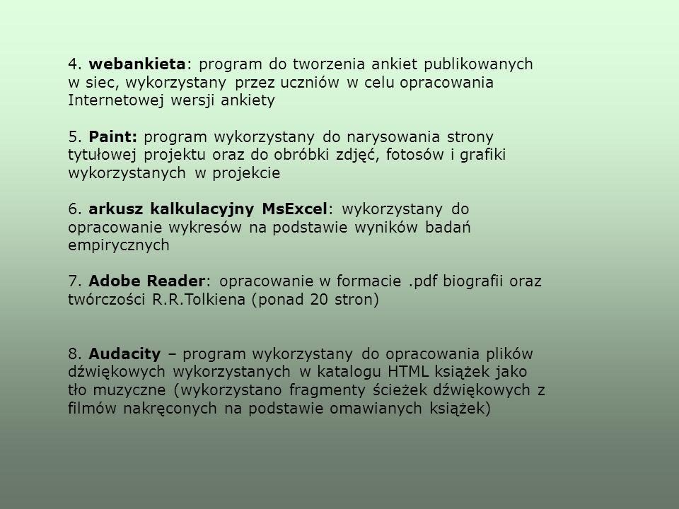 4. webankieta: program do tworzenia ankiet publikowanych w siec, wykorzystany przez uczniów w celu opracowania Internetowej wersji ankiety 5. Paint: p