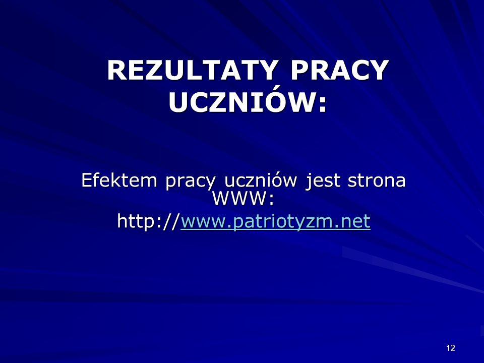 12 REZULTATY PRACY UCZNIÓW: Efektem pracy uczniów jest strona WWW: http://www.patriotyzm.net www.patriotyzm.net