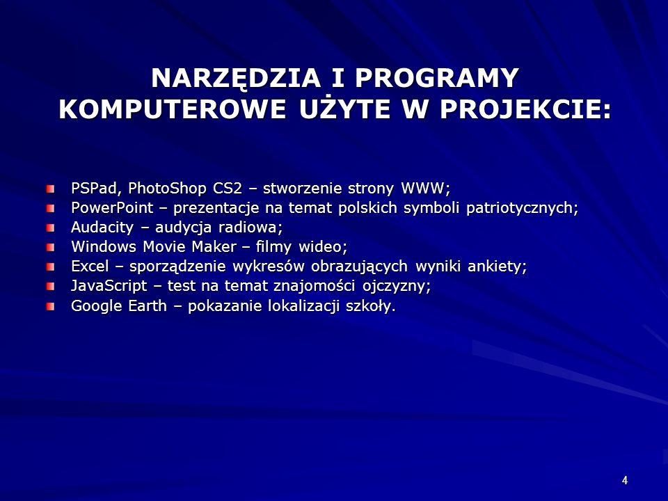4 NARZĘDZIA I PROGRAMY KOMPUTEROWE UŻYTE W PROJEKCIE: PSPad, PhotoShop CS2 – stworzenie strony WWW; PowerPoint – prezentacje na temat polskich symboli