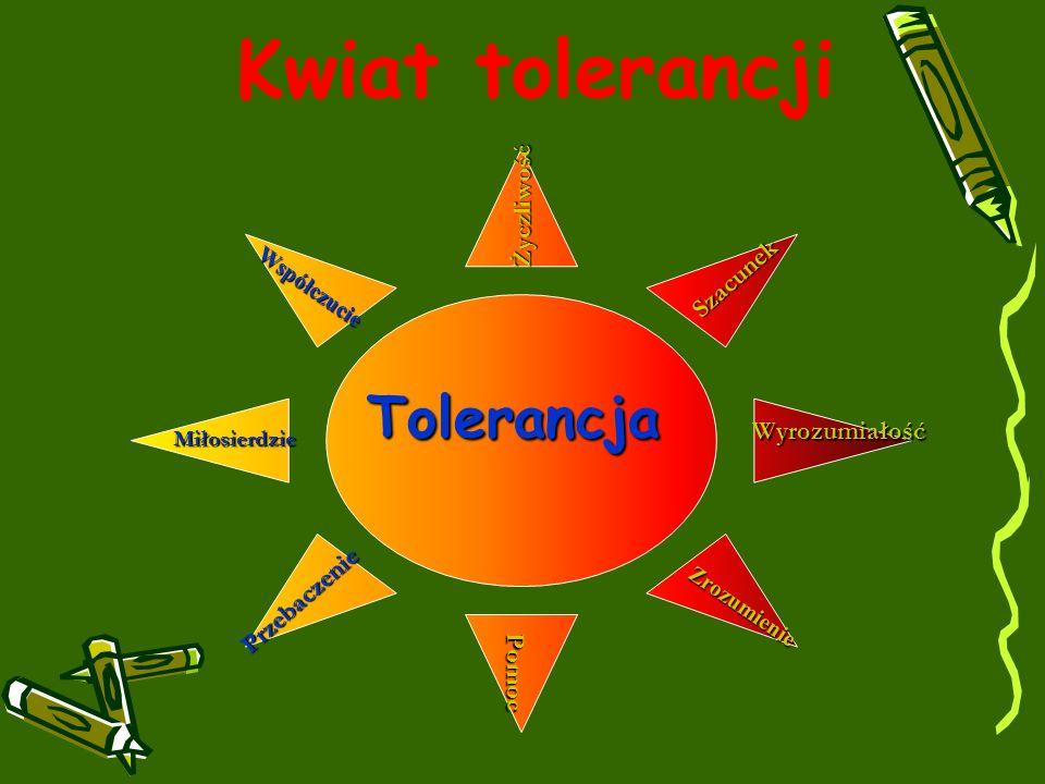 Tolerancja Życzliwość Pomoc Miłosierdzie Współczucie Szacunek Zrozumienie Przebaczenie Wyrozumiałość Kwiat tolerancji