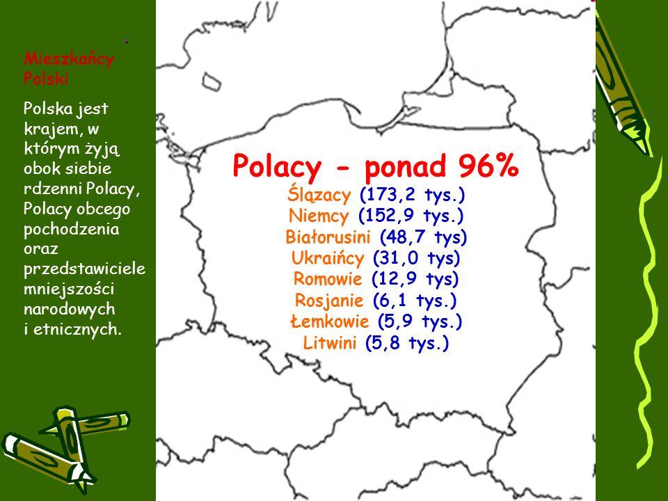 Polacy - ponad 96% Ślązacy (173,2 tys.) Niemcy (152,9 tys.) Białorusini (48,7 tys) Ukraińcy (31,0 tys) Romowie (12,9 tys) Rosjanie (6,1 tys.) Łemkowie (5,9 tys.) Litwini (5,8 tys.).