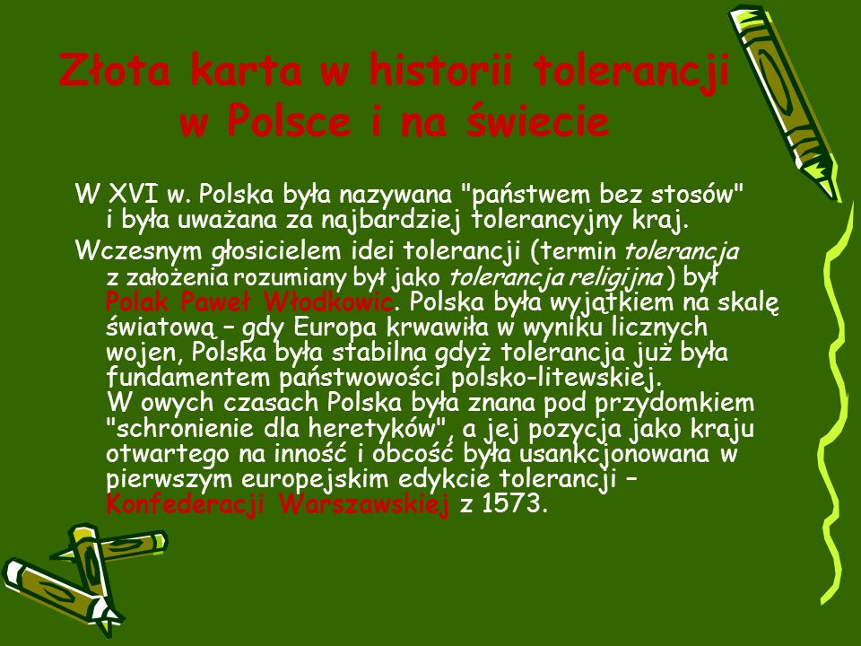 Złota karta w historii tolerancji w Polsce i na świecie W XVI w.