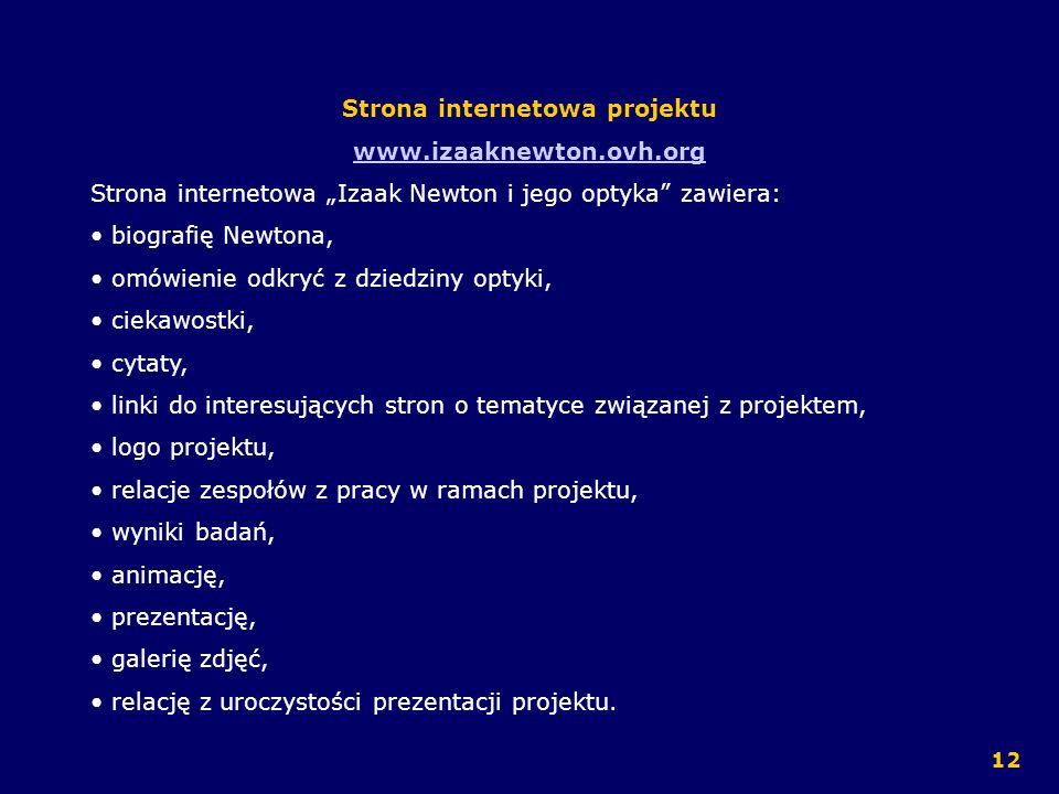 Strona internetowa projektu www.izaaknewton.ovh.org Strona internetowa Izaak Newton i jego optyka zawiera: biografię Newtona, omówienie odkryć z dzied