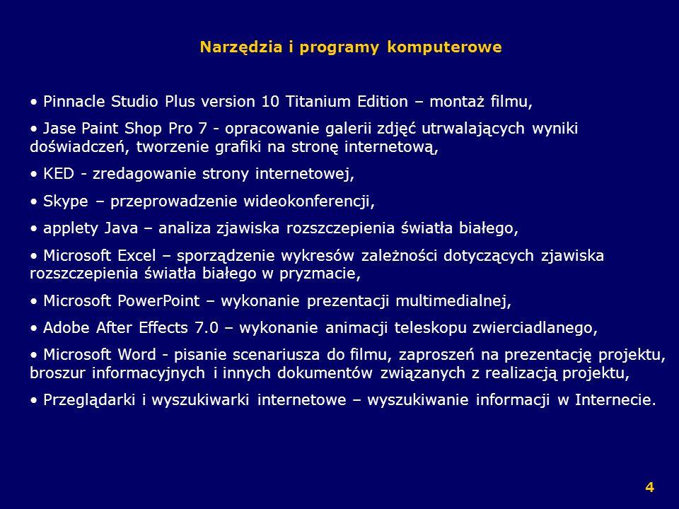 Narzędzia i programy komputerowe Pinnacle Studio Plus version 10 Titanium Edition – montaż filmu, Jase Paint Shop Pro 7 - opracowanie galerii zdjęć ut