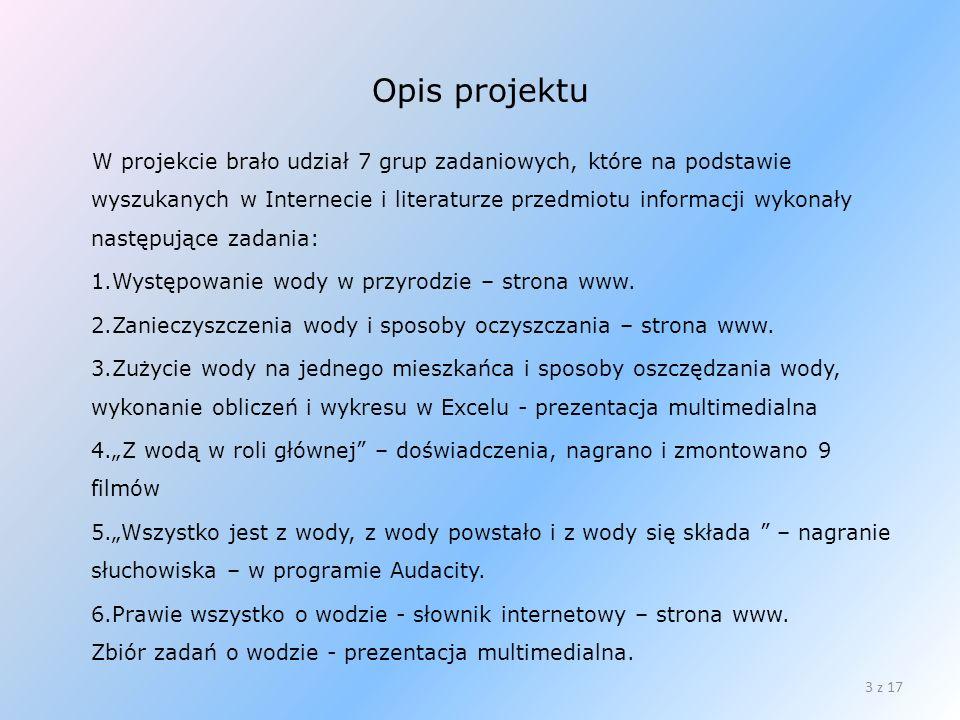 Opis projektu W projekcie brało udział 7 grup zadaniowych, które na podstawie wyszukanych w Internecie i literaturze przedmiotu informacji wykonały na