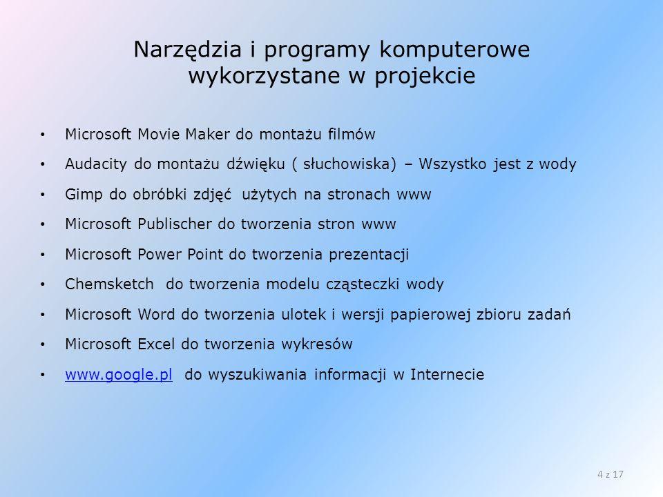 Narzędzia i programy komputerowe wykorzystane w projekcie Microsoft Movie Maker do montażu filmów Audacity do montażu dźwięku ( słuchowiska) – Wszystk