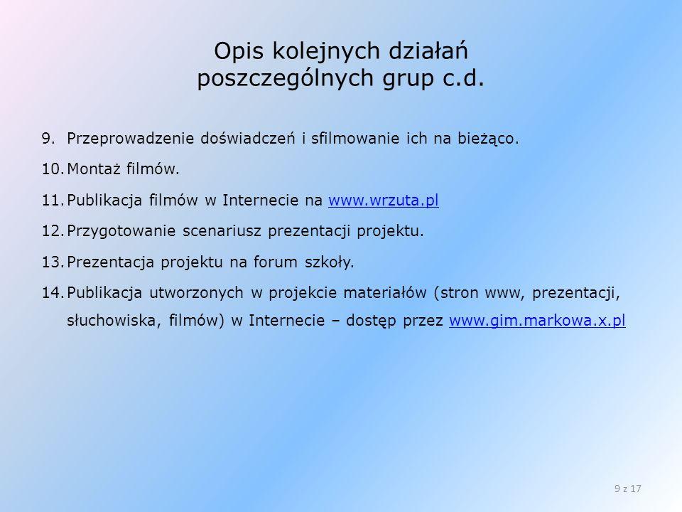 Opis kolejnych działań poszczególnych grup c.d. 9.Przeprowadzenie doświadczeń i sfilmowanie ich na bieżąco. 10.Montaż filmów. 11.Publikacja filmów w I