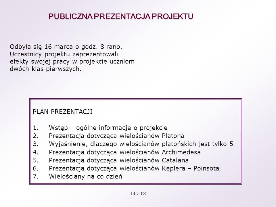 14 z 18 PUBLICZNA PREZENTACJA PROJEKTU PLAN PREZENTACJI 1.Wstęp – ogólne informacje o projekcie 2.Prezentacja dotycząca wielościanów Platona 3.Wyjaśni