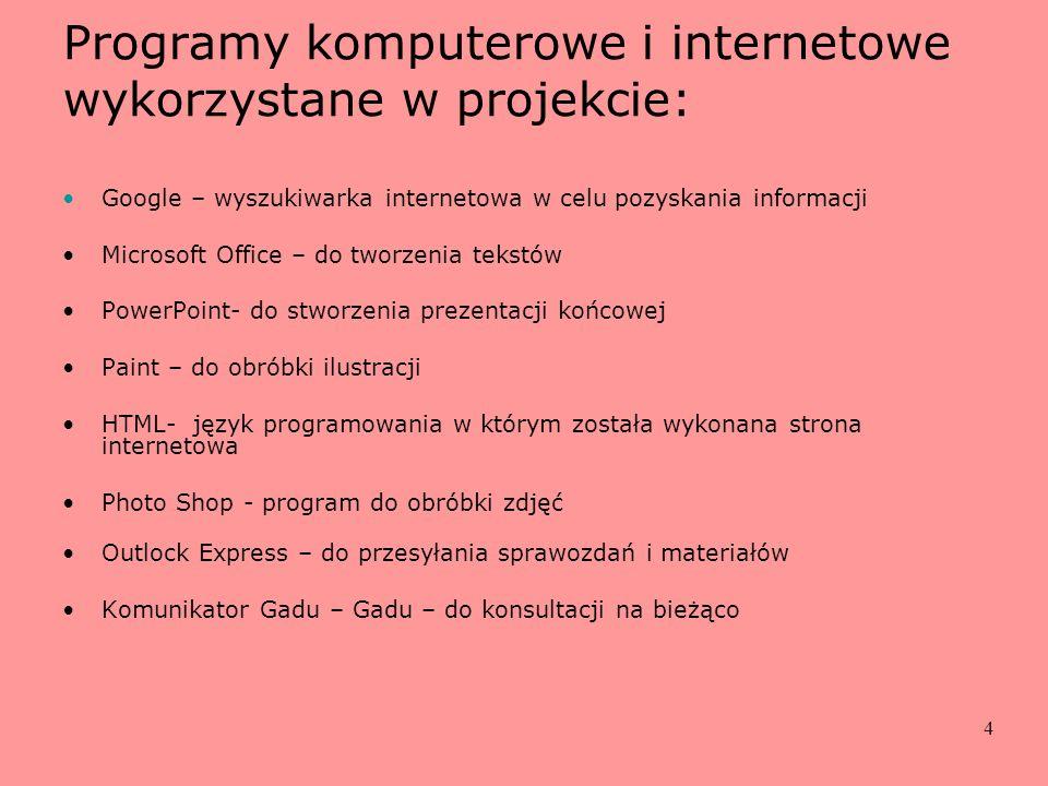 4 Programy komputerowe i internetowe wykorzystane w projekcie: Google – wyszukiwarka internetowa w celu pozyskania informacji Microsoft Office – do tw