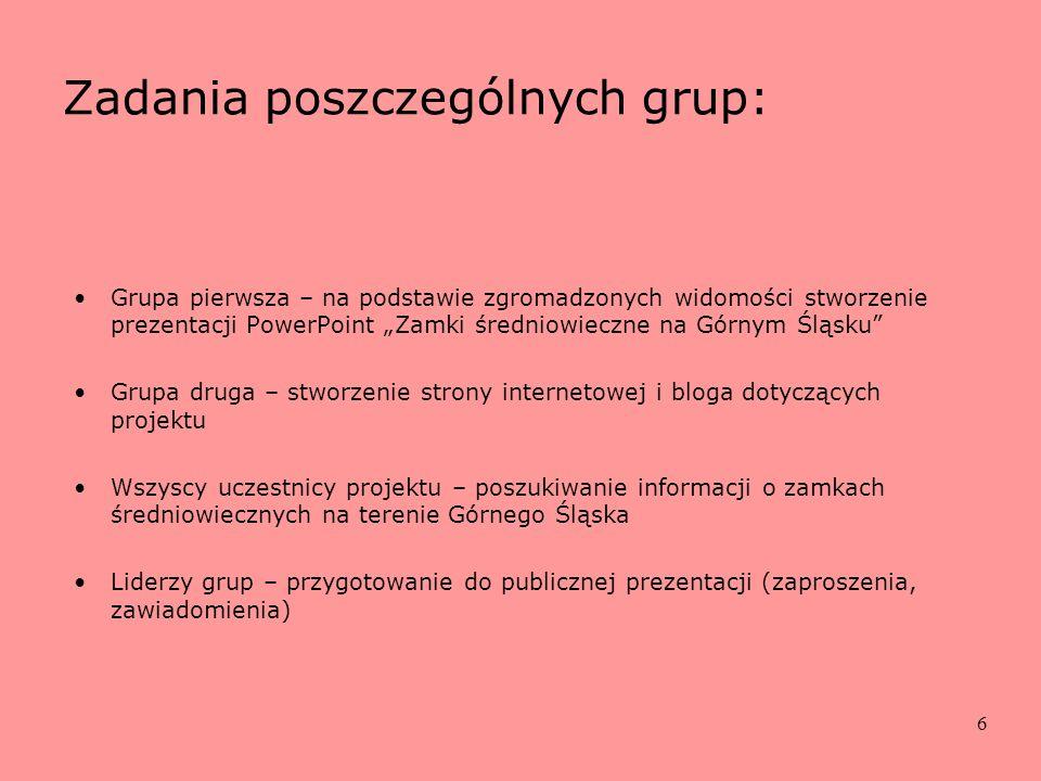 6 Zadania poszczególnych grup: Grupa pierwsza – na podstawie zgromadzonych widomości stworzenie prezentacji PowerPoint Zamki średniowieczne na Górnym