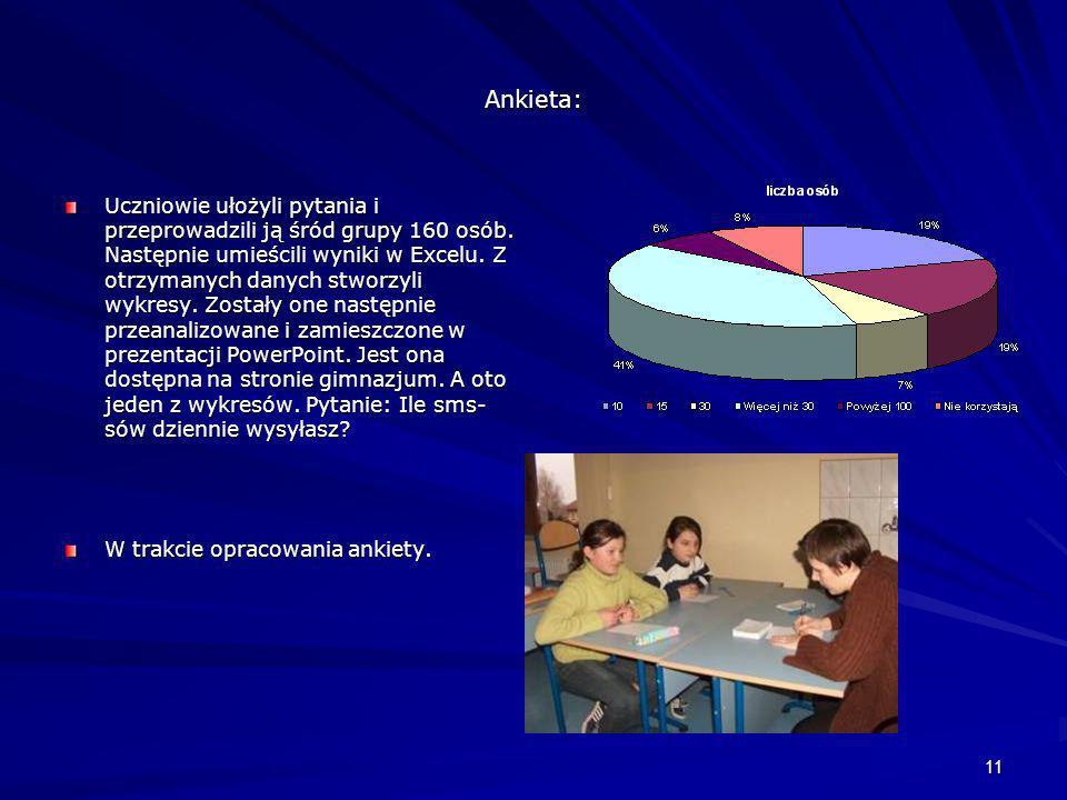 11 Ankieta: Uczniowie ułożyli pytania i przeprowadzili ją śród grupy 160 osób. Następnie umieścili wyniki w Excelu. Z otrzymanych danych stworzyli wyk