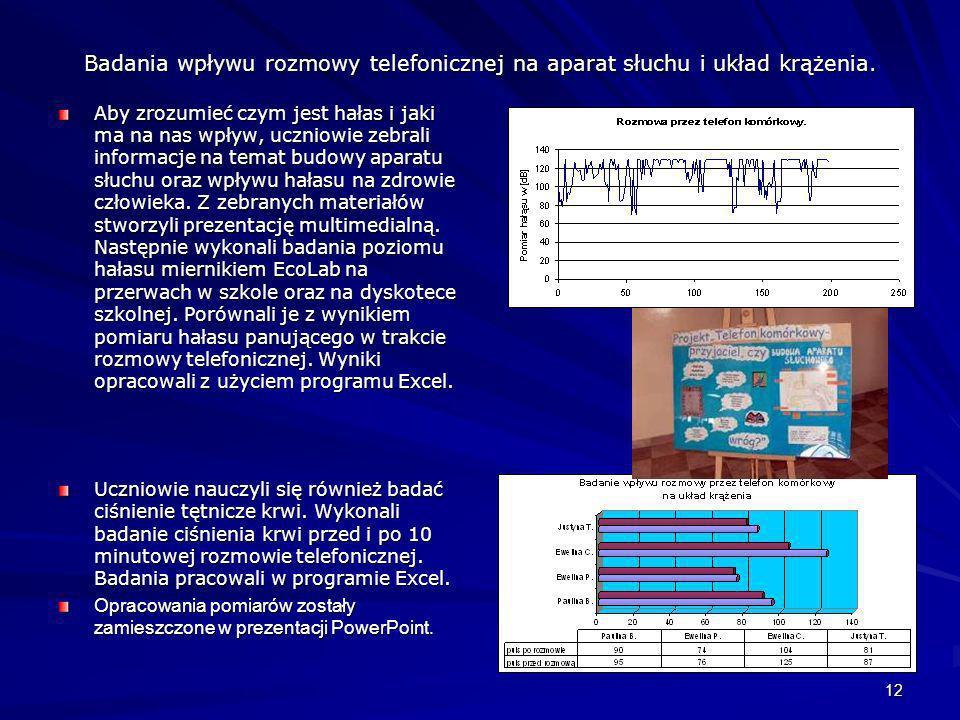 12 Badania wpływu rozmowy telefonicznej na aparat słuchu i układ krążenia. Aby zrozumieć czym jest hałas i jaki ma na nas wpływ, uczniowie zebrali inf