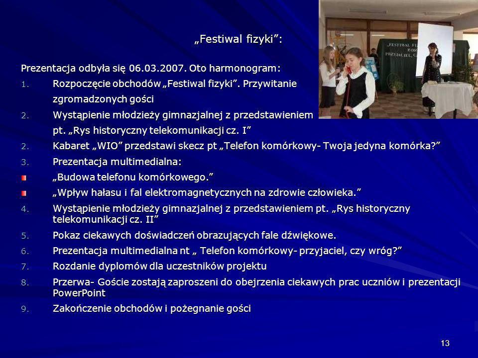13 Festiwal fizyki: Prezentacja odbyła się 06.03.2007. Oto harmonogram: 1. Rozpoczęcie obchodów Festiwal fizyki. Przywitanie zgromadzonych gości 2. Wy