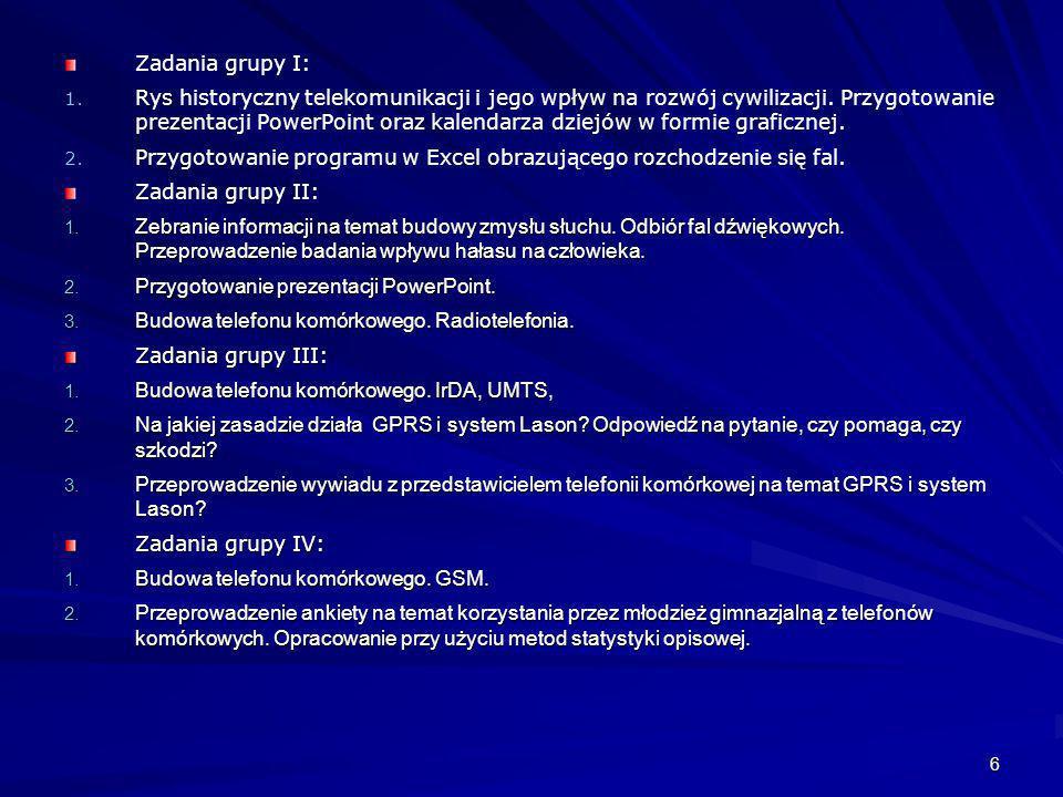 6 Zadania grupy I: 1. 1. Rys historyczny telekomunikacji i jego wpływ na rozwój cywilizacji. Przygotowanie prezentacji PowerPoint oraz kalendarza dzie