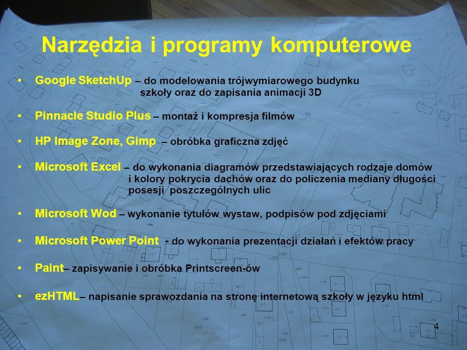 4 Narzędzia i programy komputerowe Google SketchUp – do modelowania trójwymiarowego budynku szkoły oraz do zapisania animacji 3D Pinnacle Studio Plus – montaż i kompresja filmów HP Image Zone, Gimp – obróbka graficzna zdjęć Microsoft Excel – do wykonania diagramów przedstawiających rodzaje domów i kolory pokrycia dachów oraz do policzenia mediany długości posesji poszczególnych ulic Microsoft Wod – wykonanie tytułów wystaw, podpisów pod zdjęciami Microsoft Power Point - do wykonania prezentacji działań i efektów pracy Paint – zapisywanie i obróbka Printscreen-ów ezHTML – napisanie sprawozdania na stronę internetową szkoły w języku html