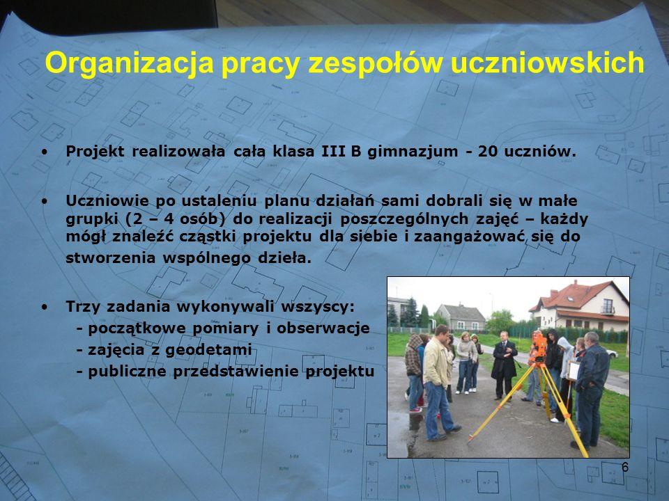 6 Organizacja pracy zespołów uczniowskich Projekt realizowała cała klasa III B gimnazjum - 20 uczniów.