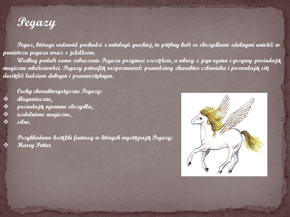 Pegazy Pegaz, którego rodowód pochodzi z mitologii greckiej, to pi ę kny ko ń ze skrzydłami zdolnymi unie ść w powietrzu pegaza wraz z je ź d ź cem. W