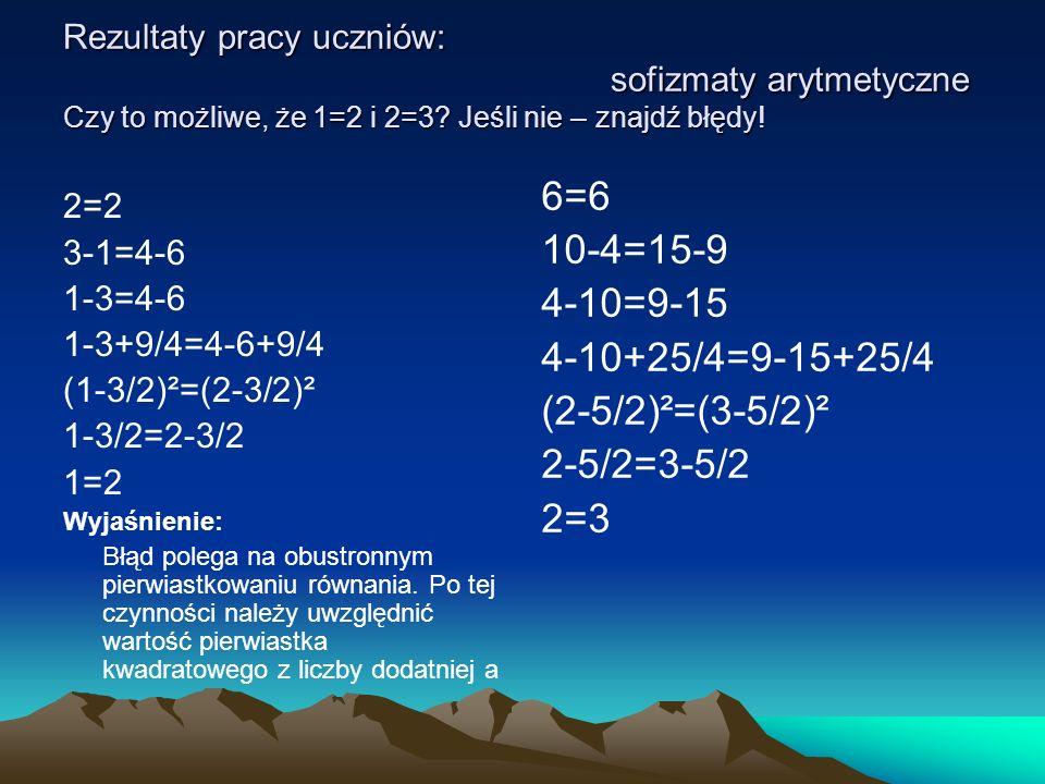 Rezultaty pracy uczniów: sofizmaty arytmetyczne Czy to możliwe, że 1=2 i 2=3? Jeśli nie – znajdź błędy! 2=2 3-1=4-6 1-3=4-6 1-3+9/4=4-6+9/4 (1-3/2)²=(