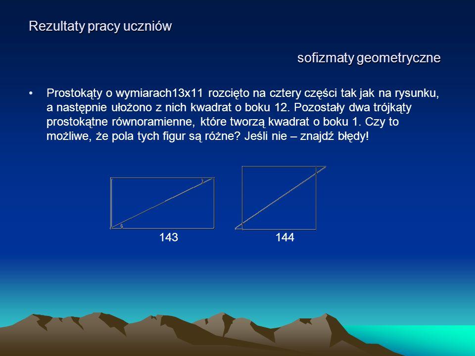 Rezultaty pracy uczniów sofizmaty geometryczne Prostokąty o wymiarach13x11 rozcięto na cztery części tak jak na rysunku, a następnie ułożono z nich kw
