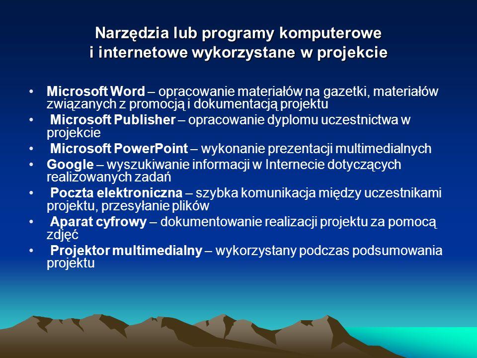 Narzędzia lub programy komputerowe i internetowe wykorzystane w projekcie Microsoft Word – opracowanie materiałów na gazetki, materiałów związanych z