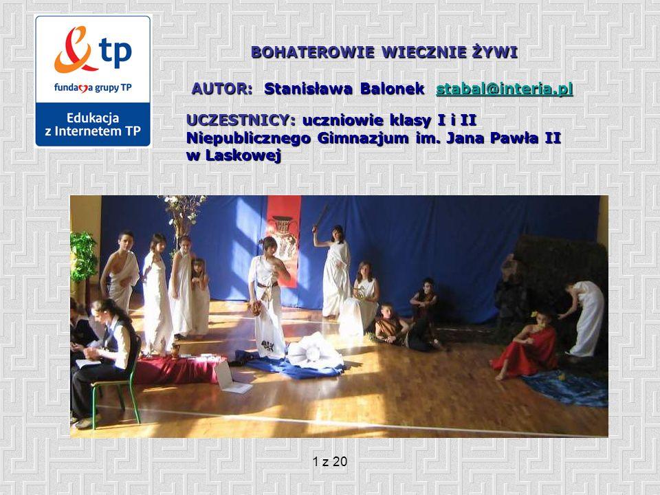 2 z 20 Cele projektu: Uczniowie: 1.Tworzą wirtualną galerię postaci mitologicznych i biblijnych, dokonując ich oceny oraz wskazując na ich znaczenie w kształtowaniu kultury europejskiej (program Microsoft FrontPage – stworzenie witryny internetowej).