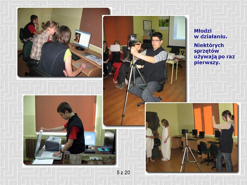 6 z 20 Organizacja pracy zespołów uczniowskich Ze względu na specyfikę szkoły (mała, licząca zaledwie 39 uczniów) jak i projektu uczniowie pracowali w 5 grupach liczących po cztery osoby (każda grupa mieszana- uczniowie kl.