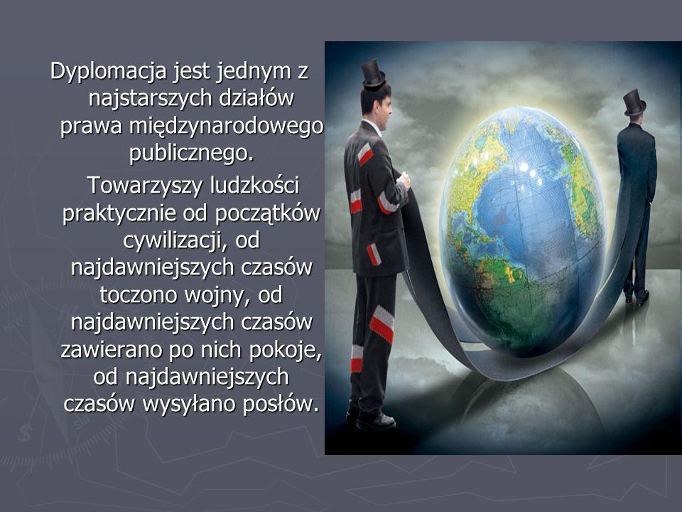 Dyplomacja jest jednym z najstarszych działów prawa międzynarodowego publicznego. Towarzyszy ludzkości praktycznie od początków cywilizacji, od najdaw