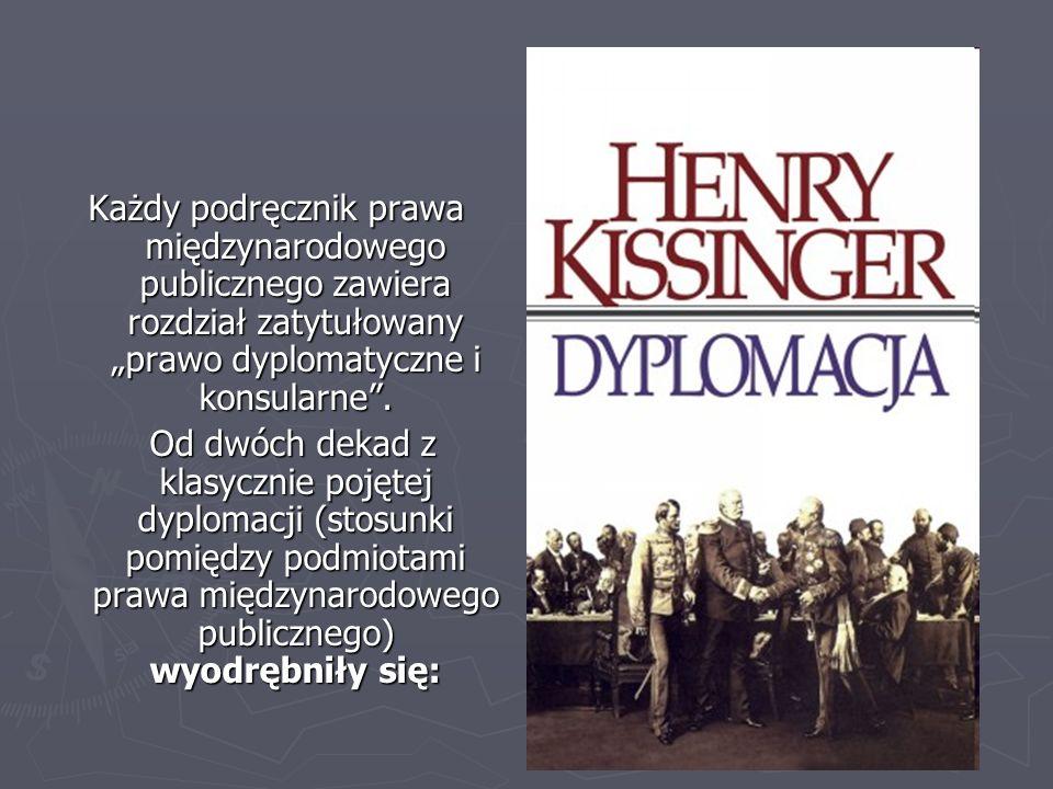 Każdy podręcznik prawa międzynarodowego publicznego zawiera rozdział zatytułowany prawo dyplomatyczne i konsularne. Od dwóch dekad z klasycznie pojęte