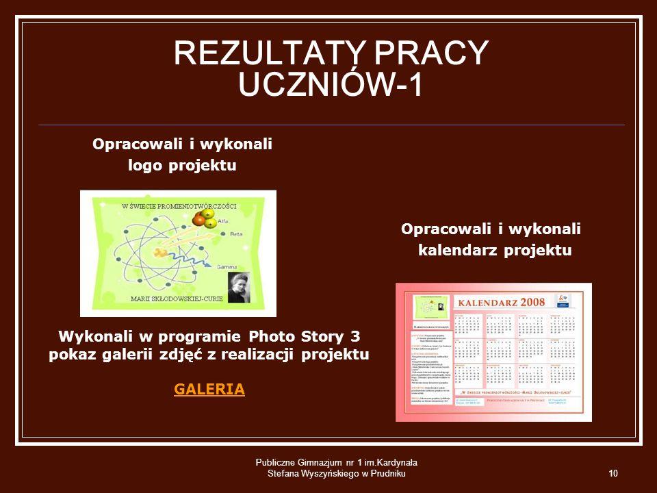 Publiczne Gimnazjum nr 1 im.Kardynała Stefana Wyszyńskiego w Prudniku10 REZULTATY PRACY UCZNIÓW-1 Opracowali i wykonali logo projektu Opracowali i wyk