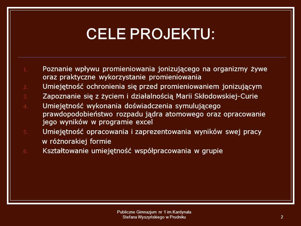 Publiczne Gimnazjum nr 1 im.Kardynała Stefana Wyszyńskiego w Prudniku2 CELE PROJEKTU: 1. Poznanie wpływu promieniowania jonizującego na organizmy żywe