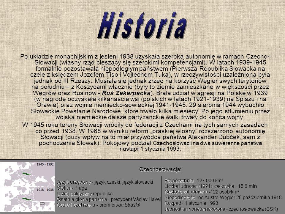 Po układzie monachijskim z jesieni 1938 uzyskała szeroką autonomię w ramach Czecho- Słowacji (własny rząd cieszący się szerokimi kompetencjami). W lat