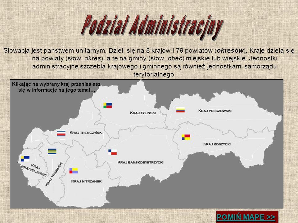 Słowacja jest państwem unitarnym. Dzieli się na 8 krajów i 79 powiatów (okresów). Kraje dzielą się na powiaty (słow. okres), a te na gminy (słow. obec