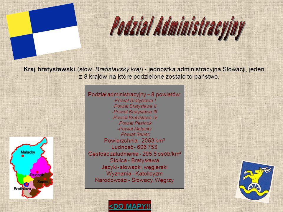 Podział administracyjny – 8 powiatów: -Powiat Bratysława I -Powiat Bratysława II -Powiat Bratysława III -Powiat Bratysława IV -Powiat Pezinok -Powiat