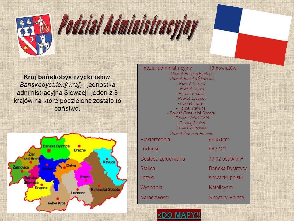 Podział administracyjny13 powiatów Powierzchnia9455 km² Ludność662 121 Gęstość zaludnienia70,02 osób/km² StolicaBańska Bystrzyca Językisłowacki, polsk