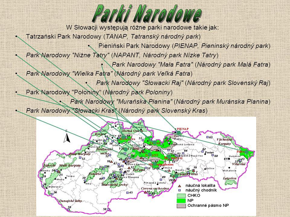 W Słowacji występują różne parki narodowe takie jak: Tatrzański Park Narodowy (TANAP, Tatranský národný park) Pieniński Park Narodowy (PIENAP, Pienins
