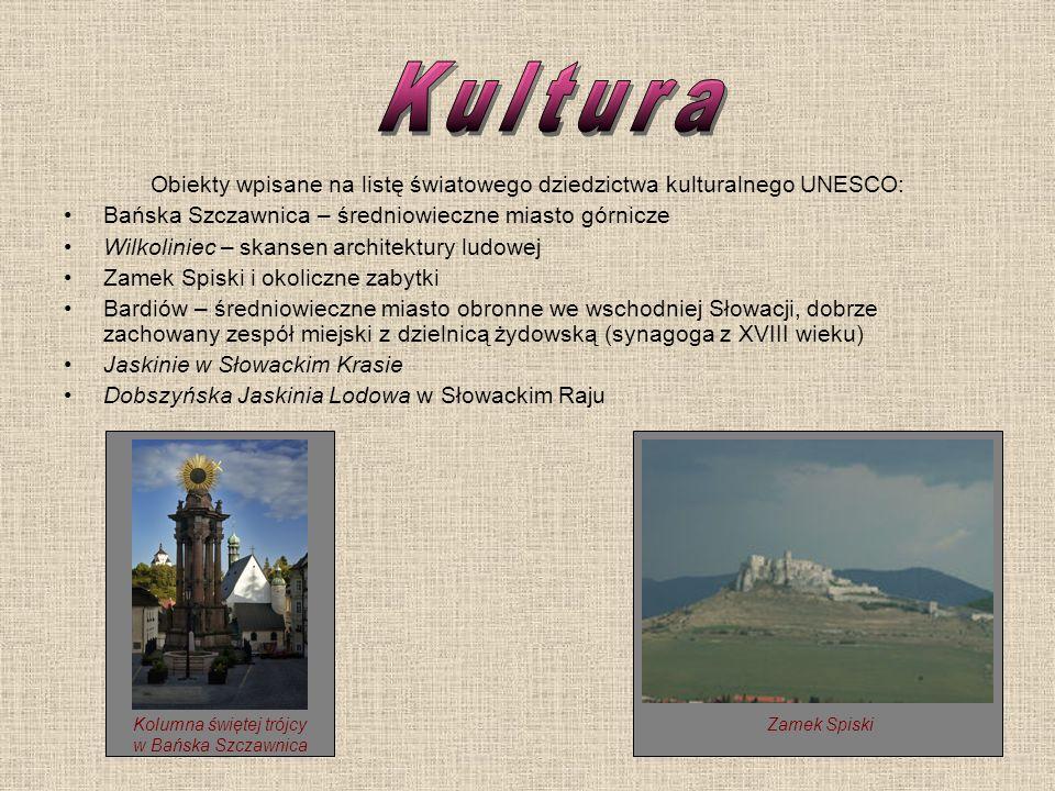 Obiekty wpisane na listę światowego dziedzictwa kulturalnego UNESCO: Bańska Szczawnica – średniowieczne miasto górnicze Wilkoliniec – skansen architek