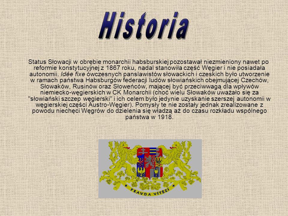 Status Słowacji w obrębie monarchii habsburskiej pozostawał niezmieniony nawet po reformie konstytucyjnej z 1867 roku, nadal stanowiła część Węgier i