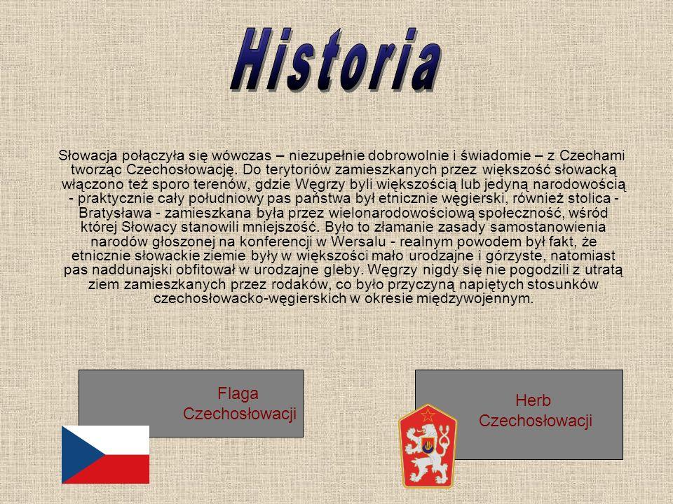 Flaga Czechosłowacji Słowacja połączyła się wówczas – niezupełnie dobrowolnie i świadomie – z Czechami tworząc Czechosłowację. Do terytoriów zamieszka