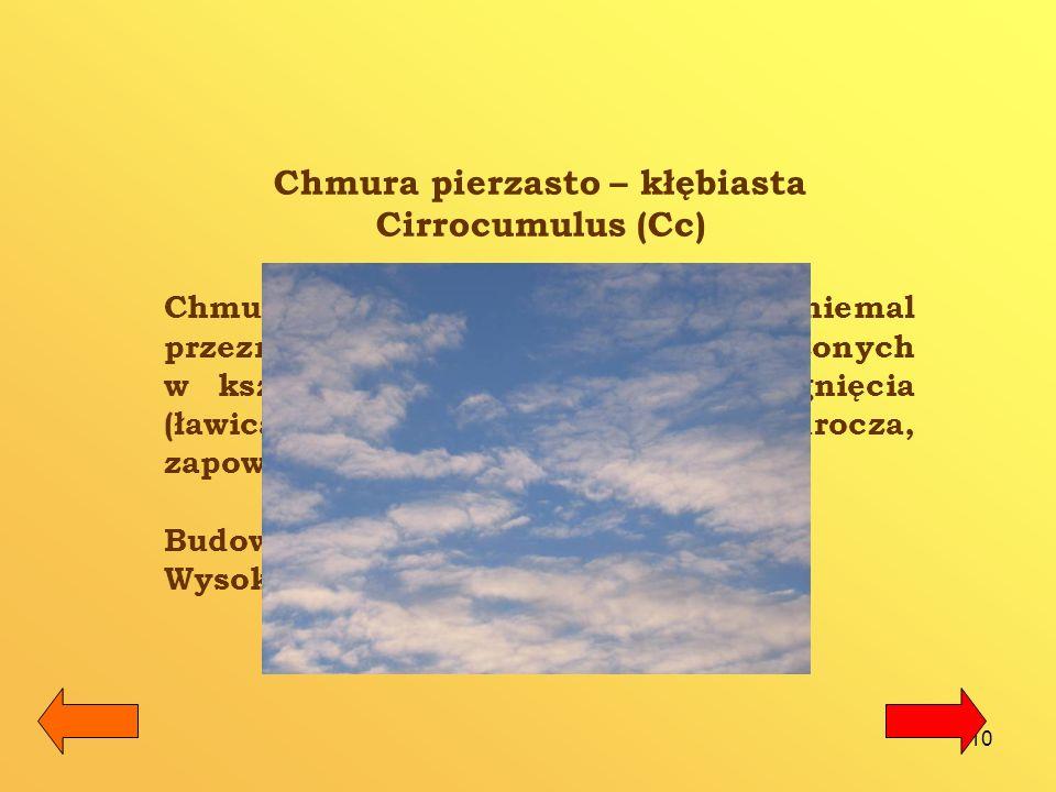 11 Chmura pierzasto – warstwowa – Cirrostratus (Cs) Cirrostratus to przejrzysta zasłona, pokrywająca całe niebo (czasem wygląda jak gęsta, splątana pajęczyna), dająca efekt tzw.