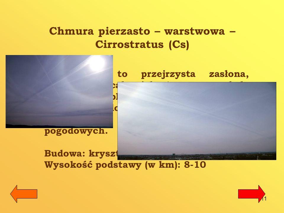 12 Chmura średnia kłębiasta Altocumulus (Ac) Biała bądź szarawa ławica lub warstwa chmur, złożona z zaokrąglonych płatów.