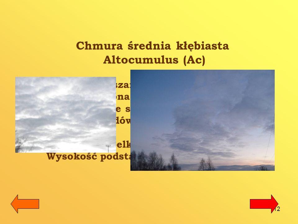 13 Chmura średnia warstwowa – Altostratus (As) Altostratus jest gęstą, włóknistą, szarą lub niebieską warstwą chmur, pokrywającą niebo całościowo bądź częściowo.