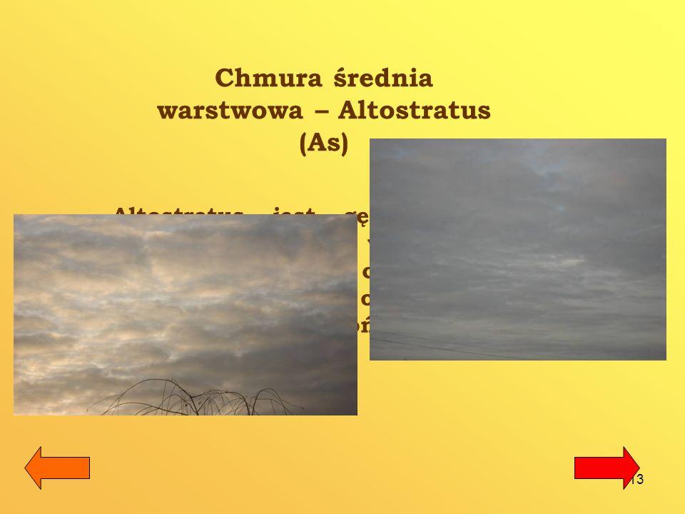 14 Chmura warstwowo– deszczowa Nimbostratus (Ns) Jest to niska warstwa gęstych, bezkształtnych chmur, niekiedy u dołu silnie postrzępionych.