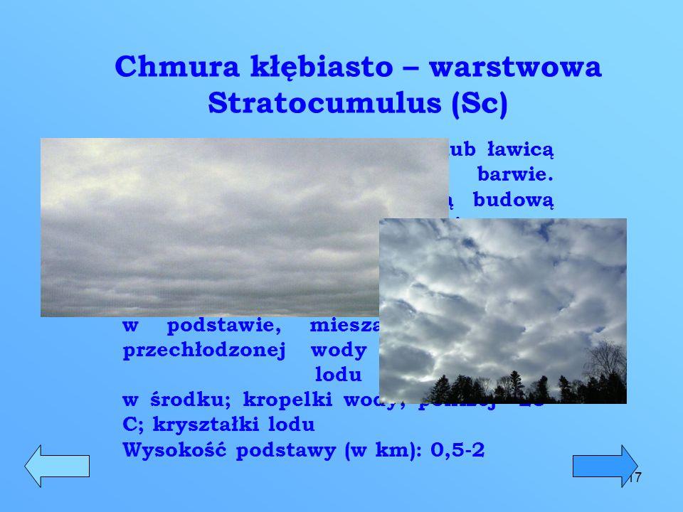 18 Chmura niska warstwowa Stratus (St) Jest to niska, jednolita warstwa chmur, która zakrywa słońce, pokrywając przy tym całe niebo.