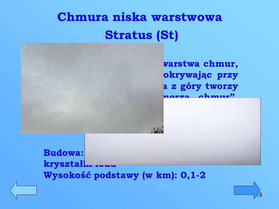 18 Chmura niska warstwowa Stratus (St) Jest to niska, jednolita warstwa chmur, która zakrywa słońce, pokrywając przy tym całe niebo. Oglądana z góry t